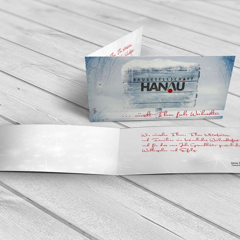 Weihnachtskarte Baugesellschaft Hanau