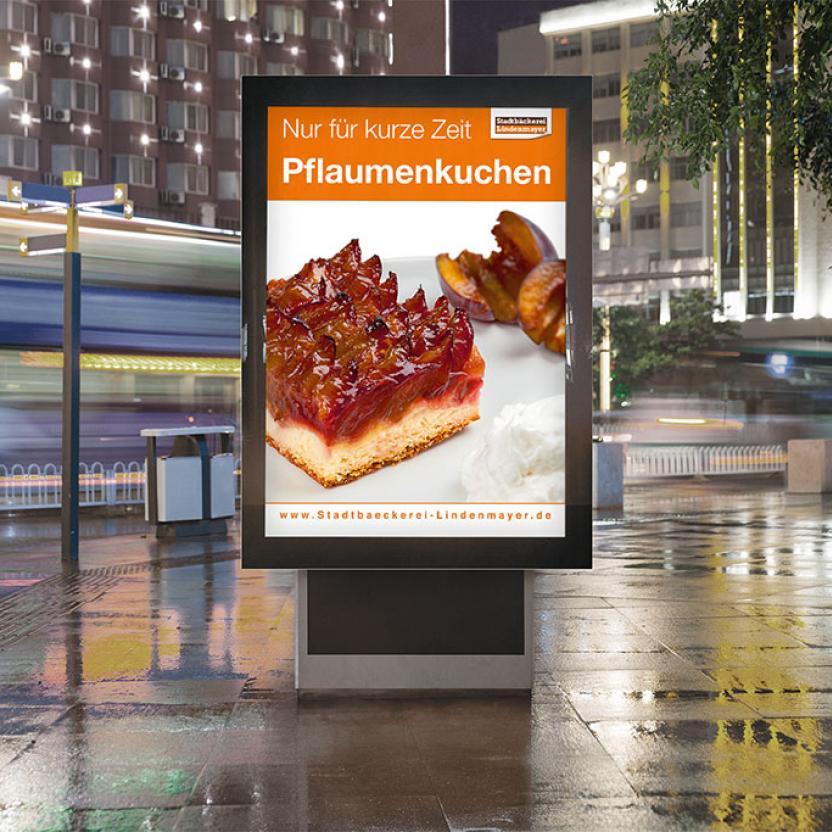 Stadtbäckerei Lindenmayer Plakat Pflaumenkuchen