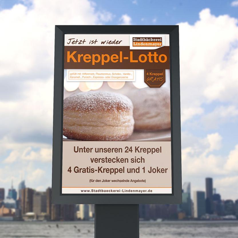 Stadtbäckerei Lindenmayer Kreppel-Plakat