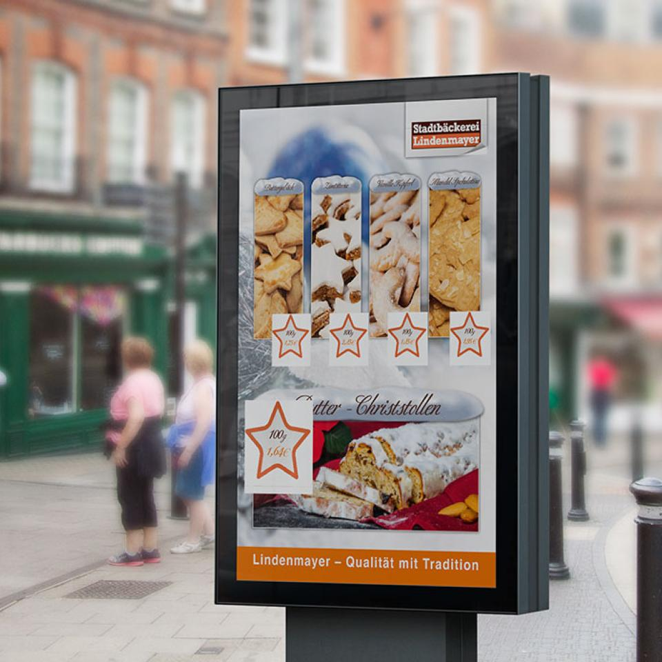 Stadtbäckerei Lindenmayer Weihnachts-Plakat