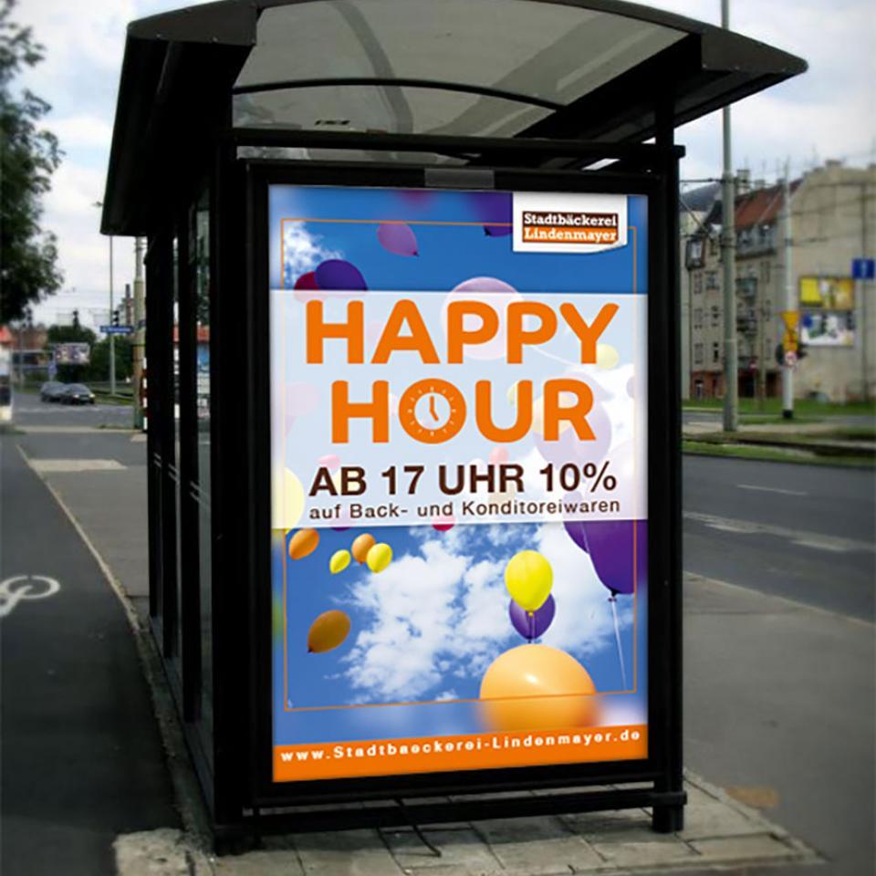 Stadtbäckerei Lindenmayer Happy Hour Plakat