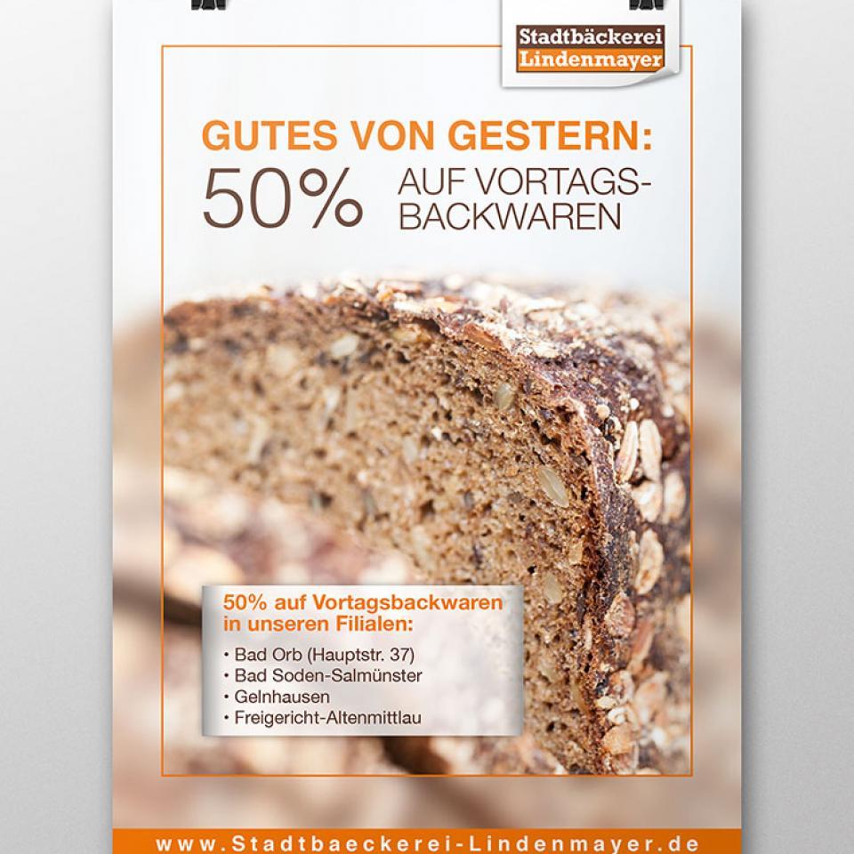 Stadtbäckerei Lindenmayer Plakat 50%