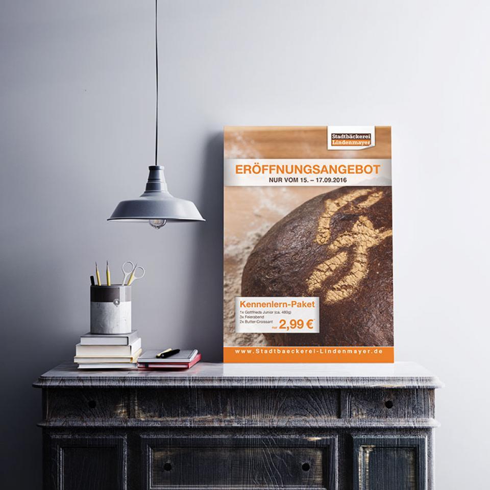 Stadtbäckerei Lindenmayer Plakat Angebot