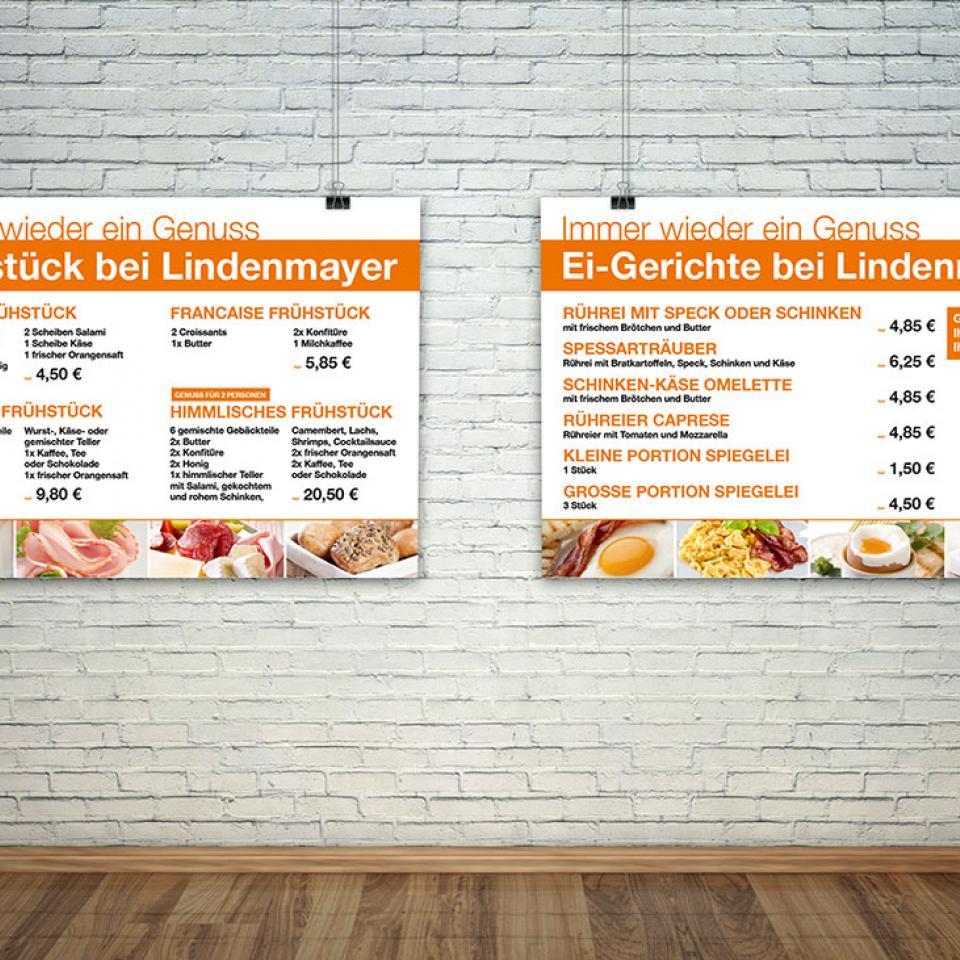 Stadtbäckerei Lindenmayer Frühstücks-Plakate