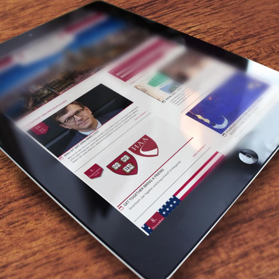 Webportal für Harvard Clubs Of Germany <br> Communication- und Image-Kampagne